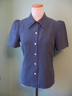 1930s 1940s wedgewood blue rayon puffed sleeve blouse top Custom made for your size