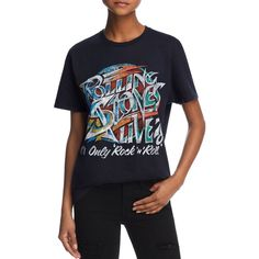 Bravado Rolling Stones Graphic Tee - 100% Exclusive ($40) ❤ liked on Polyvore featuring tops, t-shirts, black, bravado t shirts, roll t shirt, graphic tops, rolled up t shirt and graphic design t shirts