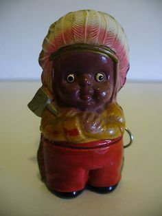 Antique Celluloid Little Boy in Headdress Figural Tape Measure