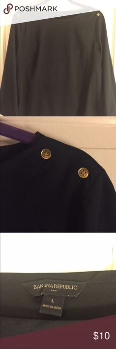 Banana Republic Blouse Navy with gold button detail. Tops Blouses