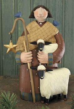 Shepherd Boy With Lamb Figurine – Christmas Folk Art & Holiday Collectibles – Williraye Studio $12.48