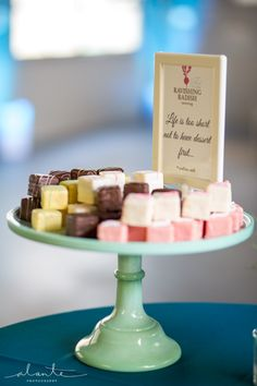 Chef JoAnna's delicately delicious petite fours make for a great little welcome (or goodbye) treat for your guests! Ravishing Radish Catering | Alante Photography
