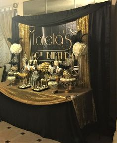 Trendy Ideas For Party Decorations Masquerade Candy Buffet Roaring 20s Birthday Party, Gatsby Themed Party, 70th Birthday Parties, 50th Party, Gatsby Wedding, Roaring 20s Theme, Party Wedding, Harlem Nights Theme, O Grande Gatsby