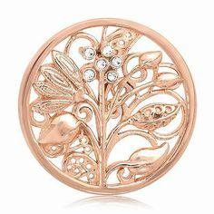 NIKKI LISSONI- Medium FANTASY TREE Coin, Rose-tone, Swarovski Elements, Nature