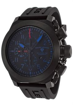 Swiss Legend Men's 1101-BB-01-BA-W Militare No1 Collection Automatic Chronograph Black Rubber Watch