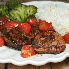 "Roasted Balsamic Chicken with Baby Tomatoes | ""I marinated the chicken ..."