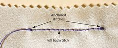 Learn how to control fabric and sew secure seams with an essential hand stitch: the backstitch. Sewing Basics, Sewing Hacks, Sewing Crafts, Sewing Tips, Sewing Ideas, Sewing Projects, Sewing Stitches, Embroidery Stitches, Hand Embroidery