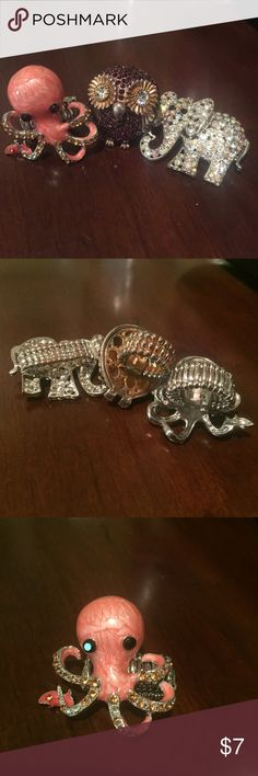 Crystal Animal Ring Bundle Three sparkling elastic band animal rings  Coral colored octopus with fish and crystal tentacles  Purple owl with crystal eyes  Clear crystal elephant  Gently used, a few missing crystals with light discoloration Jewelry Rings