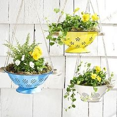 Here's a little Junkstock DIY project! Vintage colanders make the perfect self-draining planters.  Add it to the shopping list! #diy #upcycle #junkstockfinds