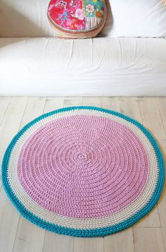 Round Rug floor crochet by lacasadecoto on Etsy, Crochet Fabric, Fabric Yarn, Crochet Mandala, Crochet Home, Hand Crochet, Crochet Patterns, Homemade Rugs, Knit Rug, Rug Inspiration