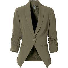 Lässiger Stretch-Blazer mit gerafften Ärmeln found on Polyvore featuring outerwear, jackets, blazers, blazer, stretch jacket, stretch blazer, brown jacket and brown blazer