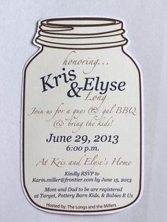 Mason Jar Baby Shower, Bridal Shower, Wedding Invitation