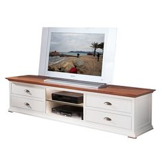 TV-Lowboard Vivienne (4 Schubladen) - Fichte massiv - Altweiß Indoor, Tv Units, Furnitures, Home Decor, Set Of Drawers, Living Room, Interior, Decoration Home, Room Decor