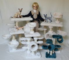 Cat Trees by Stephanie Meier Cat Trees, Bjd, Hanukkah, Profile, Wreaths, Dolls, Facebook, Pets, Home Decor