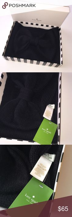 New Kate Spade neck wrap NWT New Kate Spade gathered Bow neck wrap. Can be used as ear warmer or neck wrap your versatile winter staple ❤️ NEW in box with tags in Black retail $88 - Perfect  🎁 ! kate spade Accessories Scarves & Wraps