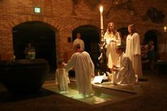 Easter Vigil baptism in the early morning hours.