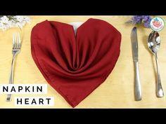 Napkin Folding Heart - How to Fold a Napkin Into a Heart - Table Setting Idea - YouTube