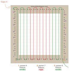 sujetador de cortina tejido en telar cuadrado de mesa de 11 por 11 cm.