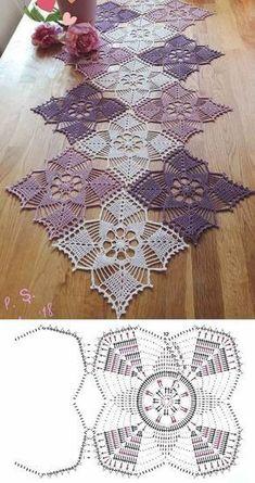 Crochet Table Runner Pattern, Crochet Snowflake Pattern, Crochet Mandala Pattern, Granny Square Crochet Pattern, Crochet Tablecloth, Crochet Stitches Patterns, Crochet Squares, Thread Crochet, Crochet Doilies