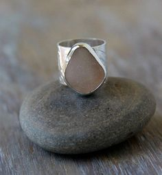 Pink Sea Glass Ring Sterling Silver Wide Band by MermaidCharms, $115.00