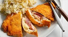 Crispy Stuffed Chicken Cutlets with Ham, Cheese