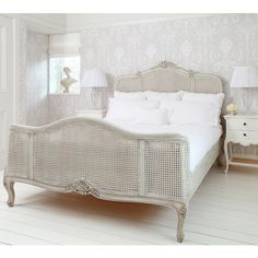 French Grey Painted Rattan Bed Lifestyle