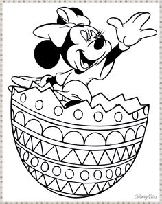 Minnie Mouse jumping out off easter egg coloring page coloring pages for kids Easter Coloring Pages Printable, Easter Egg Coloring Pages, Farm Animal Coloring Pages, Cartoon Coloring Pages, Disney Coloring Pages, Christmas Coloring Pages, Colouring Pages, Coloring Pages For Kids, Coloring Books
