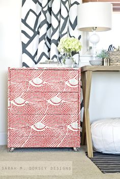 sarah m. dorsey designs: Ikea Rast Dresser Hack | Fabric Wrapped with Custom Ring Pulls and Acrylic Casters