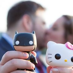 Batman meets Hello Kitty in this fun themed engagement shoot in Washington DC. They started off from Glover Park to Georgetown with a kiss.