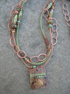 Vintage Heart Double Strand Patina Copper Pendant Necklace, Hand-Knotted Macrame Necklace OOAK