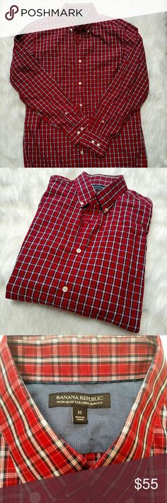 Banana Republic non iron slim fit red plaid Medium Used but good condition slim tailored fit long sleeve casual dress shirt from BR.  Red plaid with cream buttons. Banana Republic Shirts Casual Button Down Shirts