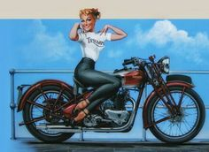 """""""C'mon, baby, let's have a ball!""""  Marlon Brando to Kathie in the epic 1953 outlaw biker film """"The Wild Ones"""".  Brandorode a 650cc Triumph Thunderbird in the movie, considered by many to be the first superbike. Artwork by Tony Upson."""