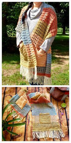 16 Reader's Pocket Wrap Shawl Free Crochet Patterns & Paid - DIY Magazine Poncho Au Crochet, Pull Crochet, Crochet Wrap Pattern, Crochet Shawls And Wraps, Crochet Blanket Patterns, Crochet Scarves, Crochet Clothes, Crochet Stitches, Crochet Sweaters