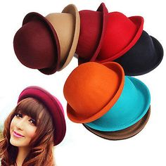 Cute Fashion Vintage Ladies Women Wool Felt Cloche Derby Bowler Hat Cap  3b652dc822d