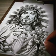Jesus Christ and Mary. Chicano Tattoos, Chicano Art, Body Art Tattoos, Jesus Drawings, Tattoo Drawings, Tattoo Sleeve Designs, Sleeve Tattoos, Christus Tattoo, Holy Tattoos