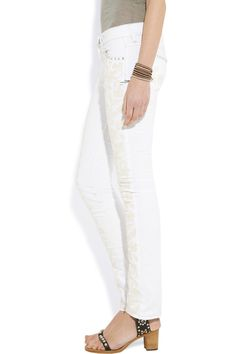 Isabel MarantGalix embroidered low-rise skinny jeans