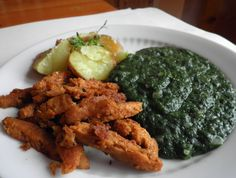sojové nudličky se špenátem Tempeh, Tofu, Palak Paneer, Vegetarian Recipes, Curry, Chicken, Vegetables, Ethnic Recipes, Diet