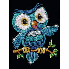 Sequin Art Red Ozzy The Owl Sparkling Craft Picture Kit Dot Art Painting, Fabric Painting, Bead Embroidery Jewelry, Beaded Embroidery, Cavas Art, Kit Creation, Creative Bubble, Cristal Art, Sequin Crafts