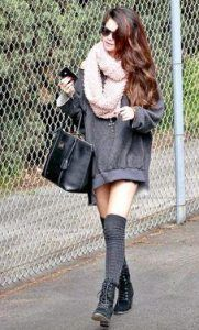 Selena Gomez Casual Style Oversized Sweatshirt, Over-The-Knee Socks, Combat Boots & Big Scarf Knee High Socks Outfit, High Socks Outfits, Trendy Outfits, Cute Outfits, Fashion Outfits, Womens Fashion, Fall Winter Outfits, Autumn Winter Fashion, Selena Gomez