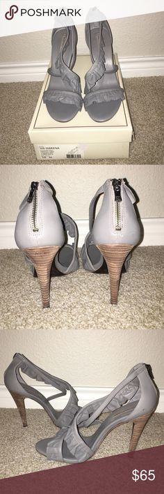 NEW BCBG Nappa Gray Ruffle Sandals Heels Size 10 New in box.  Gray all leather 4.5 inch heels with ruffles.  Small mark on the inside right shoe (see first picture). BCBGMaxAzria Shoes Heels