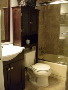 Starting to put together bathroom ideas. Good storage space.   Small bath redone for under $3K. Bathrooms Design