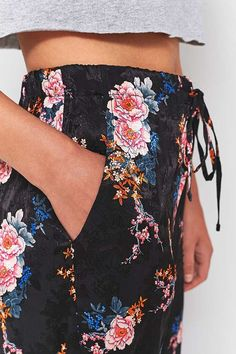 Slide View: 5: Light Before Dark Pink Floral Satin Tie-Waist Wide Leg Trousers