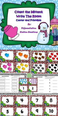 FREE!! Mitten Counting! Write the Room! Count the Room! This is an mittens / winter themed math center. Preschool, Kindergarten, special education instruction. Homeschool or school setting.