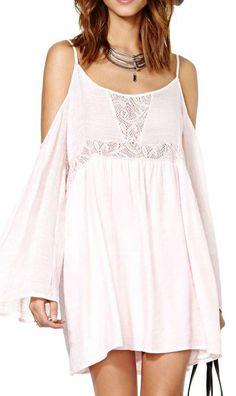 Light Pink Off-Shoulder O-neck Long Sleeves Beach Dress