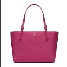 Tory burch small York Saffiano leather tote Good condition awesome color for summer will upload pics later but is exactly like the one n pictures Tory Burch Bags