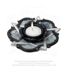 Alchemy The Vault Pentagram And Midnight Rose Tea Light Candle Holder 664427044186 Shabby Chic Candle Holders, Vintage Candle Holders, Vintage Candles, Tealight Candle Holders, Silver Home Accessories, Goth Home Decor, T Lights, Tea Light Candles, Tea Light Holder