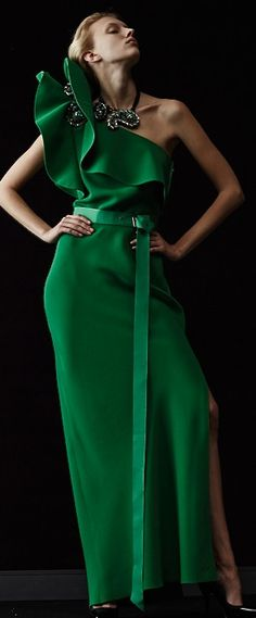 Evening gown, couture, evening dresses, formal and elegant Lanvin green