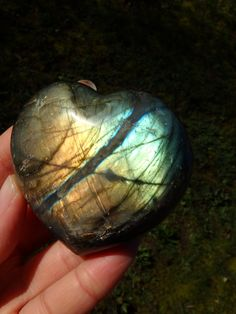 ~Sea Green & Golden Flashes LABRADORITE GEMSTONE HEART CARVING~  AVAILABLE For SALE HERE:
