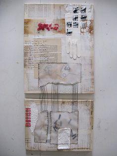 mixed media gestikte tweeluik. witte abstracte door ancagray