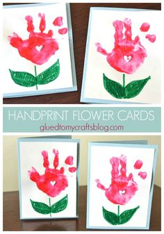 Handprint Flower Cards – Kid Craft - Painted Handprint Flower Cards – Kid Craft – Perfect for spring or Mother's Day Keepsake Gift Idea – Handmade Card Tutorial Baby Crafts, Toddler Crafts, Preschool Crafts, Mothers Day Cards Craft, Kids Cards, Craft Cards, Cards Diy, Easy Mother's Day Crafts, Mothers Day Crafts For Kids